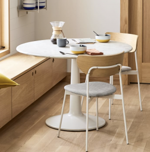 small white round dining table