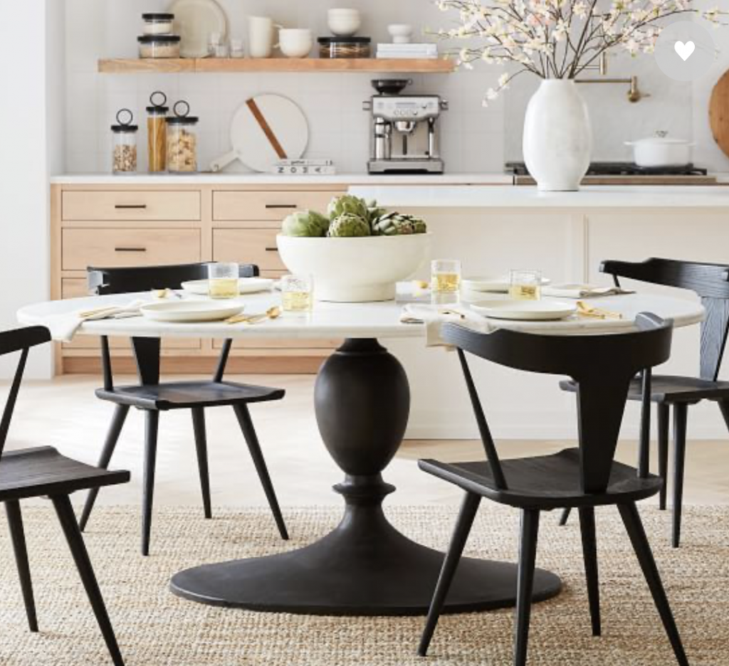 marble round white dining table