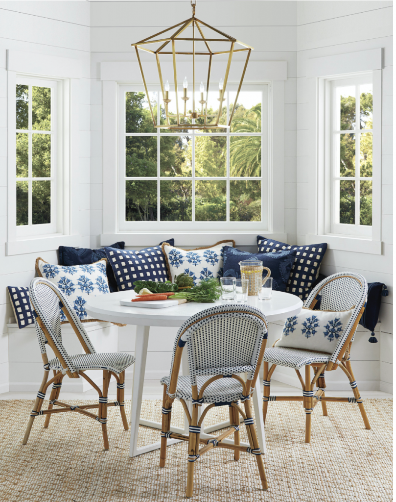 white round dining table with bench