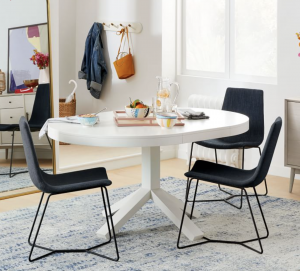 cute breakfast table with dark chairs