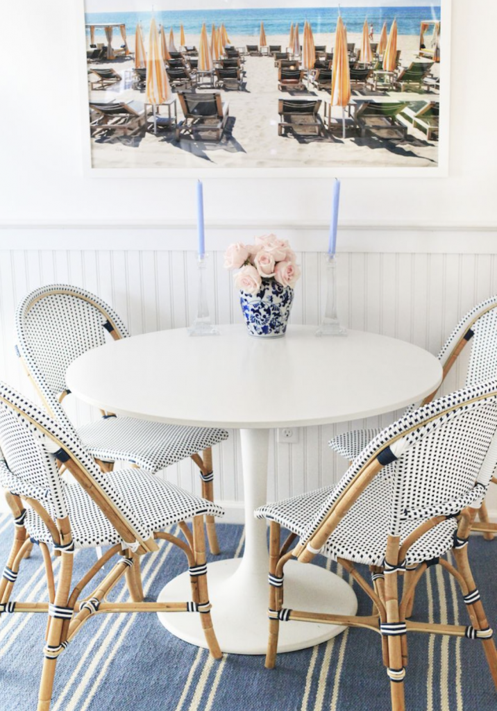 white table with bistro chairs in a kitchen