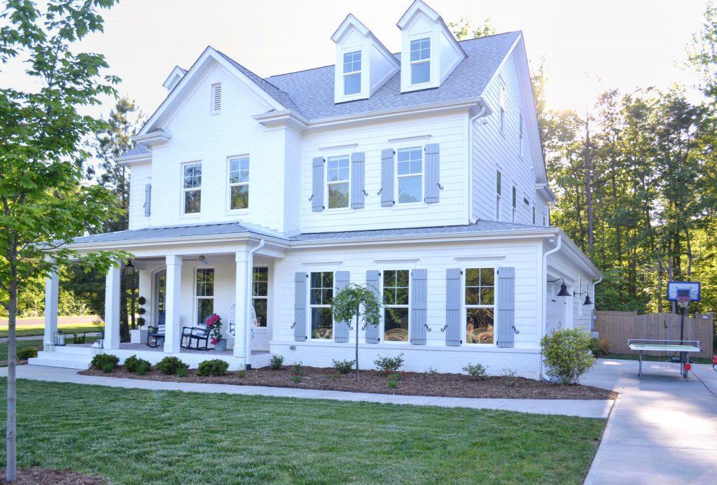 a white brick house