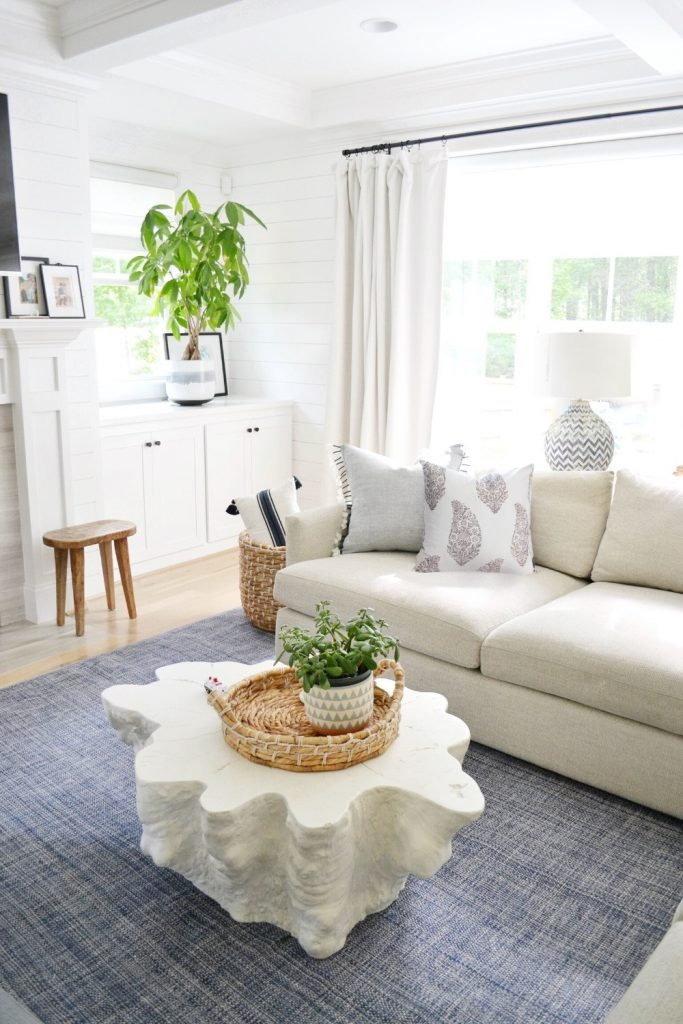 2 throw pillows on a sofa in the corner of a living room