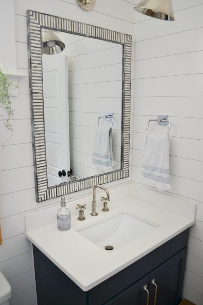 arctic white quartz in a bathroom