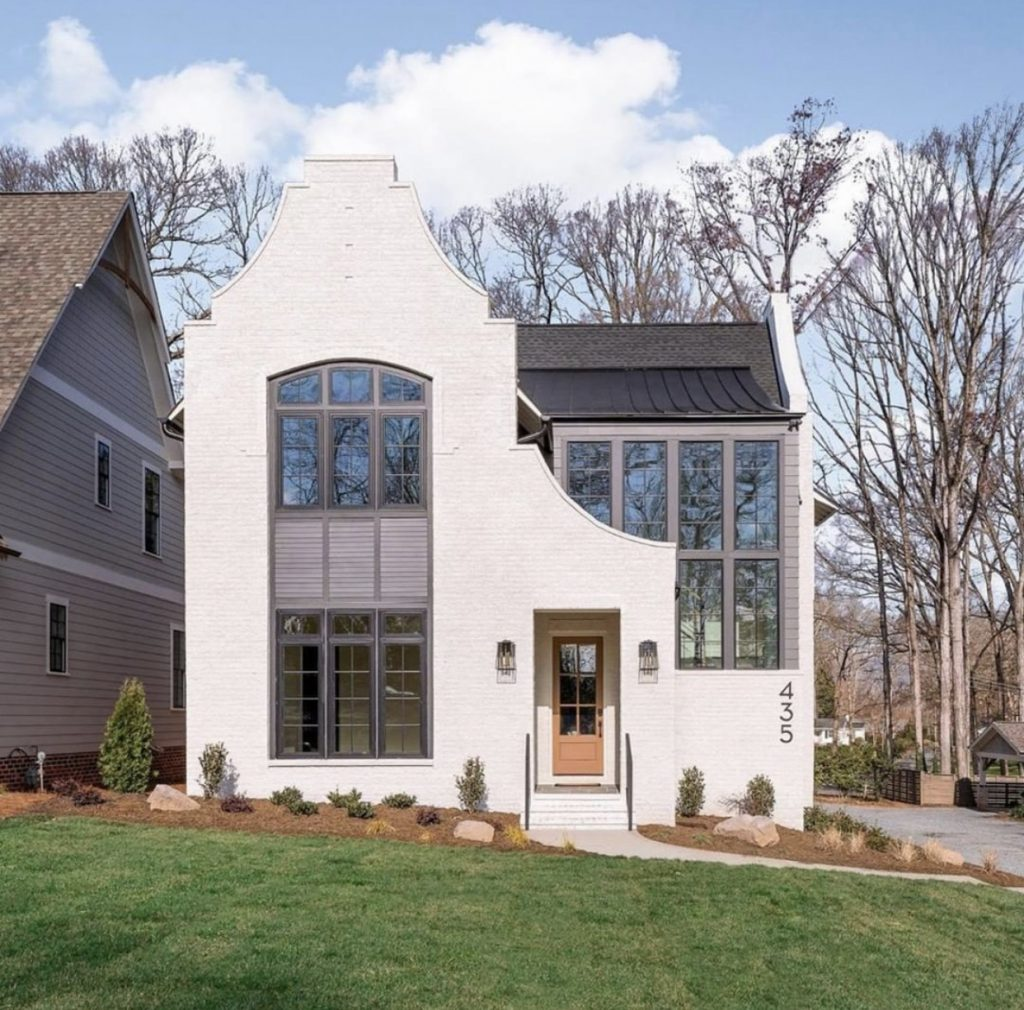 a modern white brick home