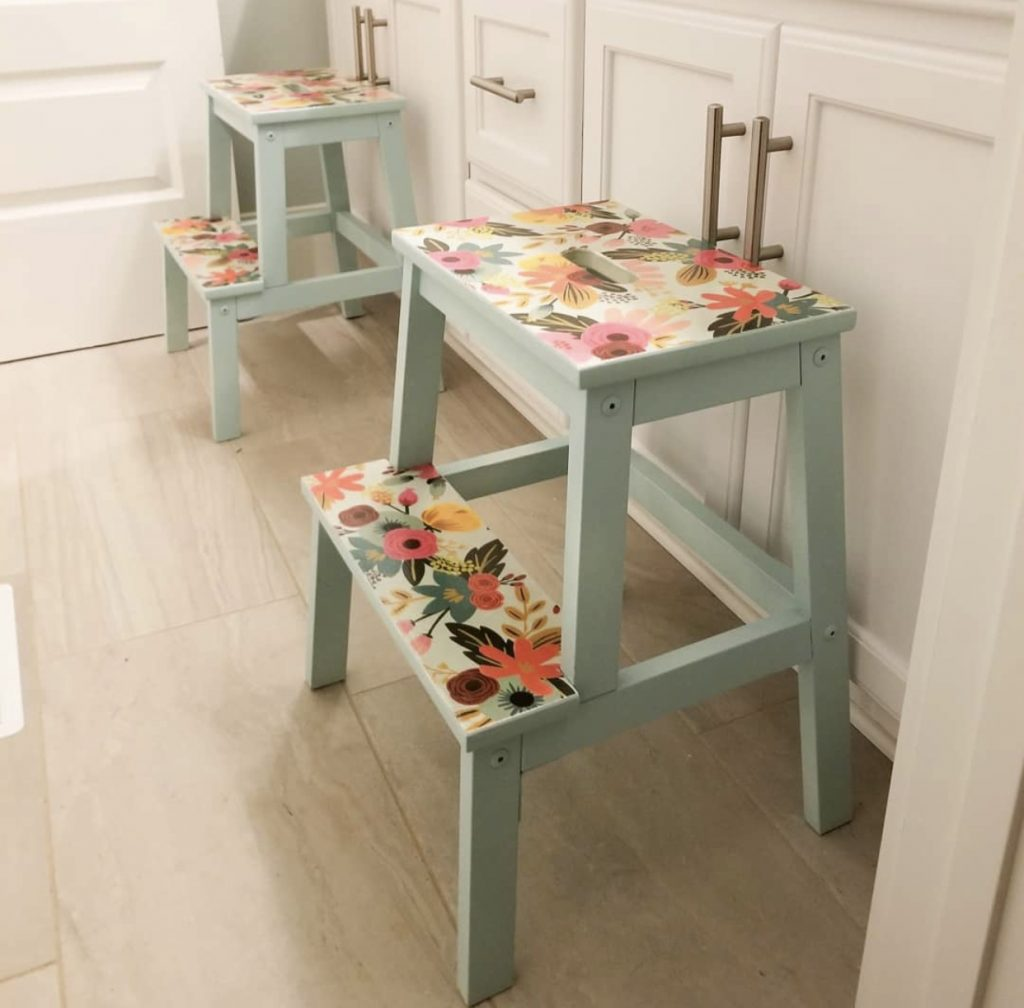 ikea stools painted in a bathroom