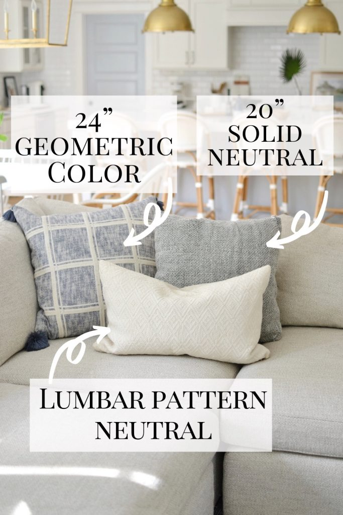 Pinterest image showing sizes for 3 throw pillows
