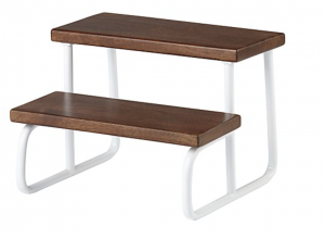 wood and white kids step stools