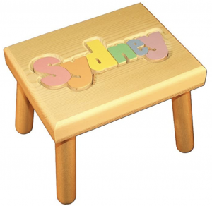 puzzle step stool with name