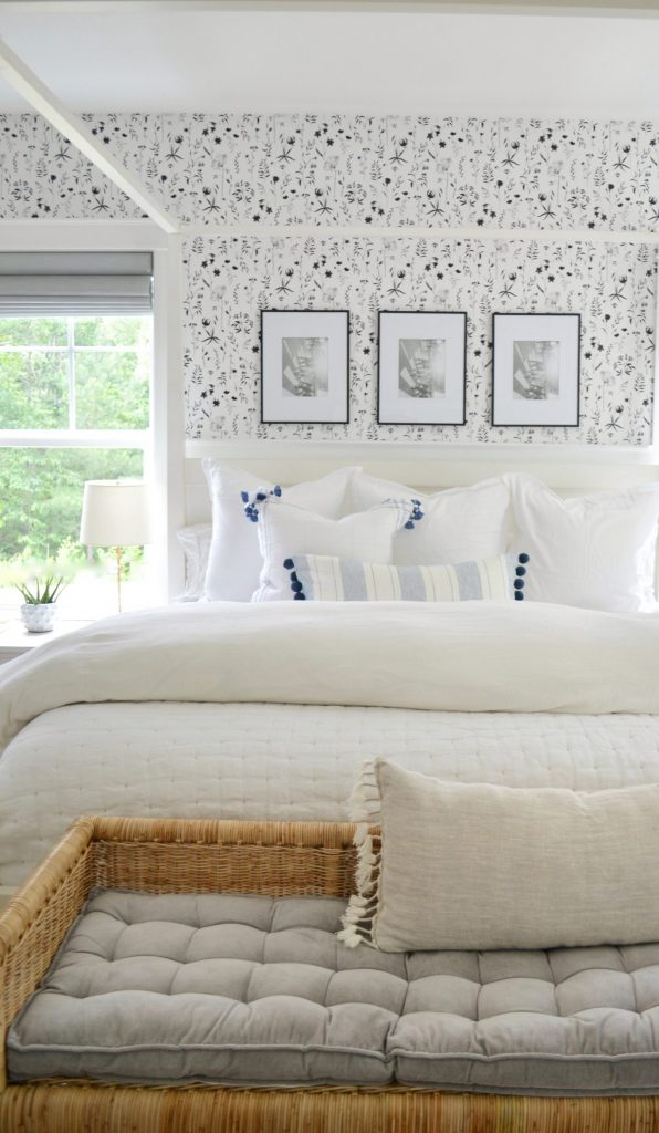white fluffy cozy bedding in a bedroom