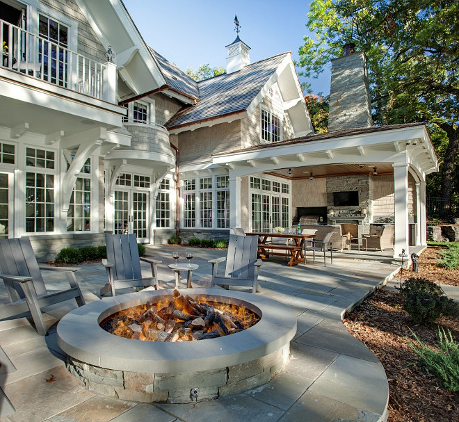 large backyard with Firepit