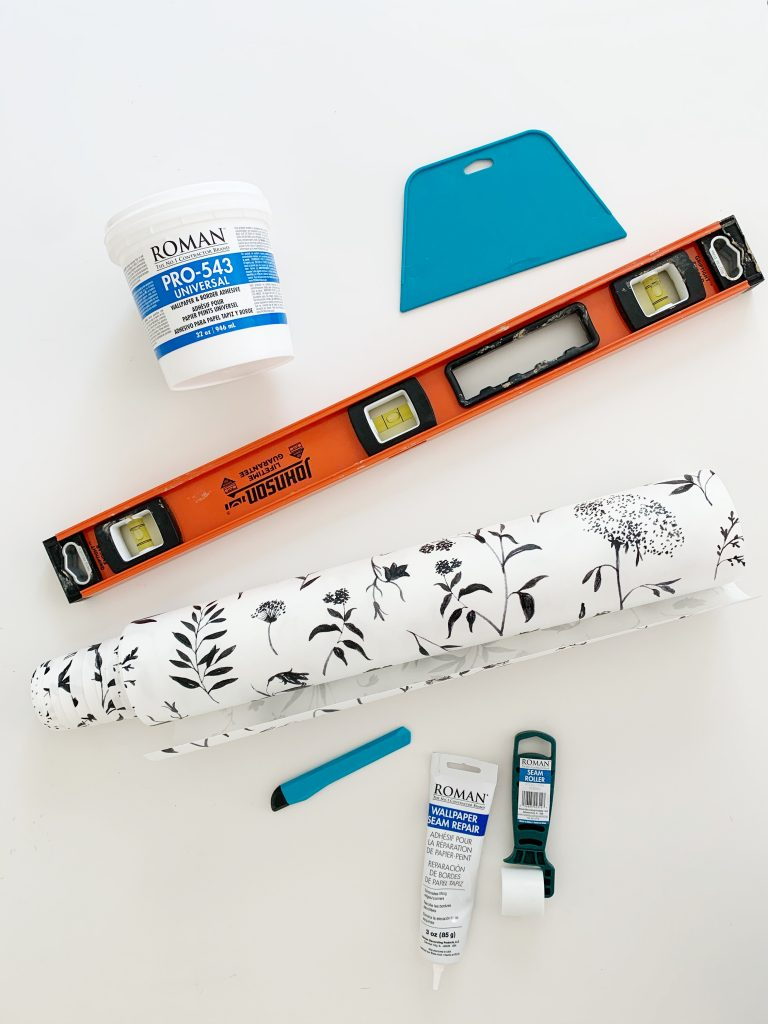 a flatly of the 7 tools needed for when hanging wallpaper installation