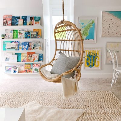 Hanging Rattan Chairs In Our Playroom