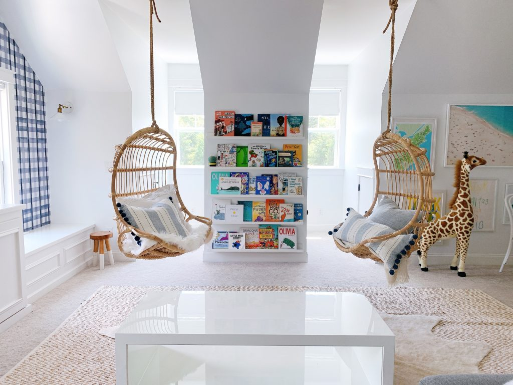 two ceiling chairs in a playroom