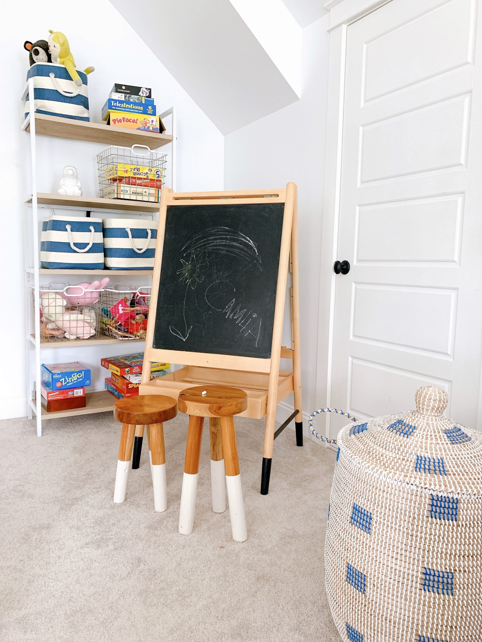 chalkboard for kids in a playroom