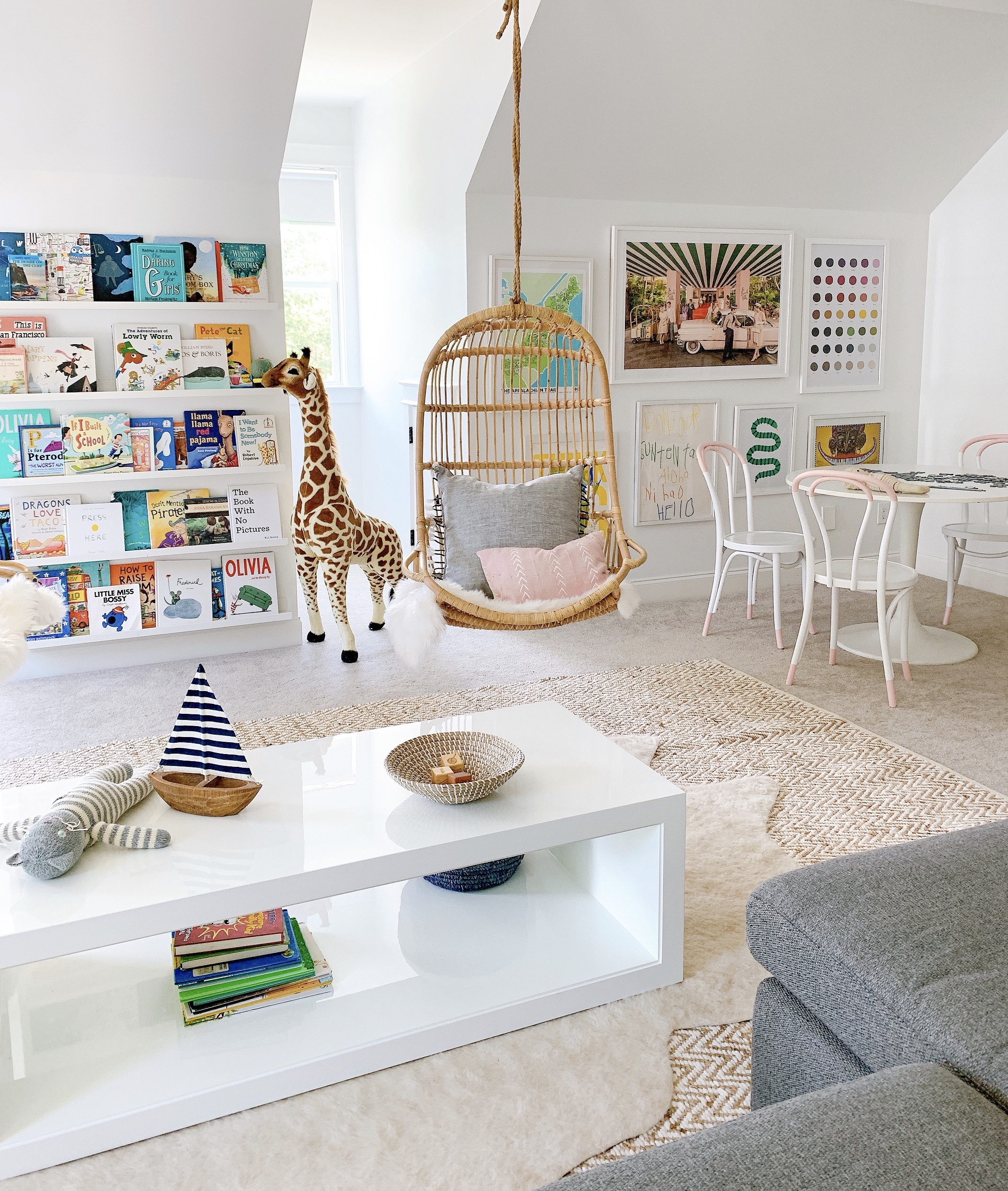 playroom decor with kids table and book ledges