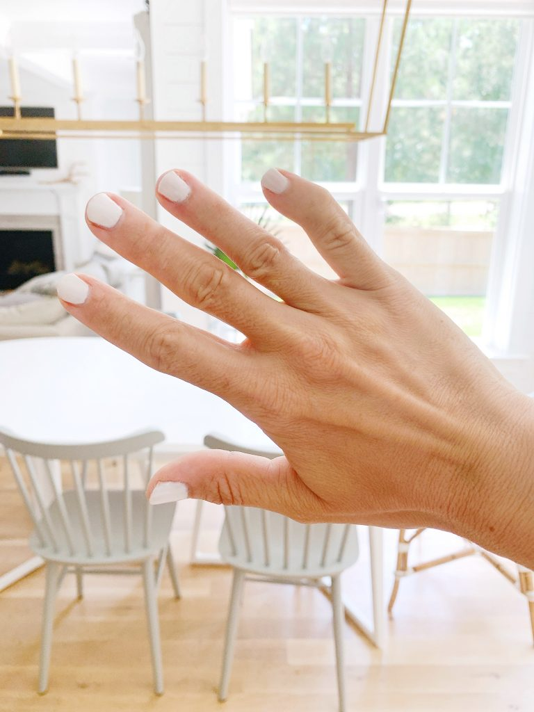 white gel polish on an at home manicure