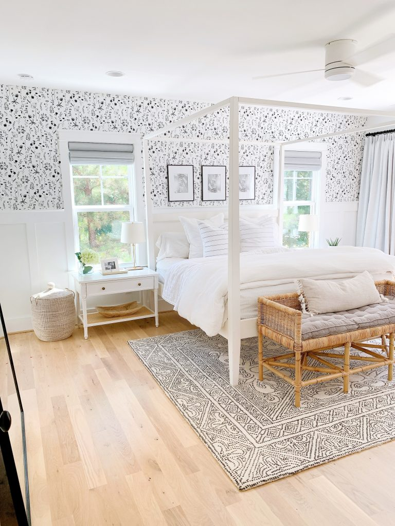 a black and white bedroom