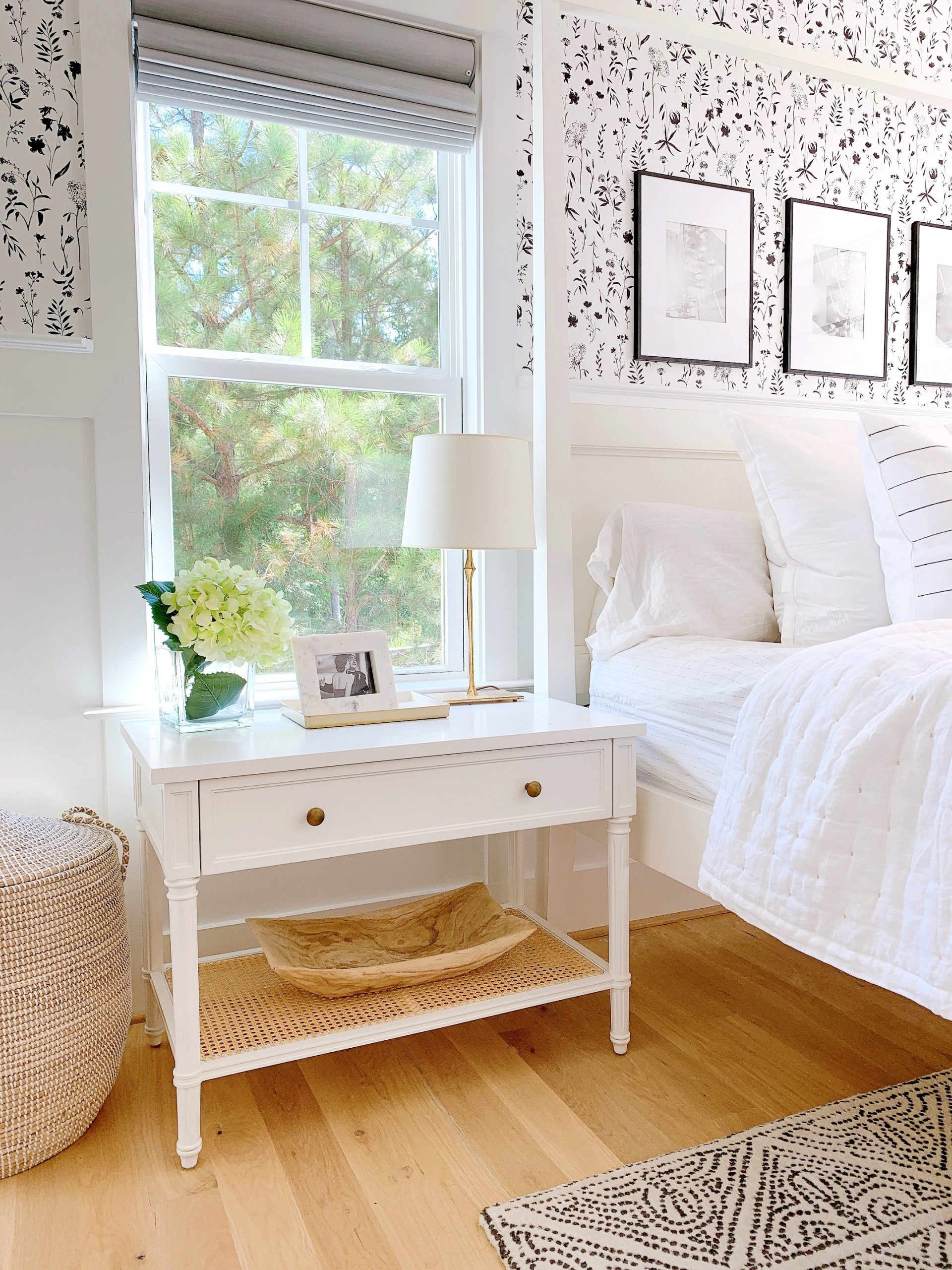 Serena and lily harbour cane nightstands in a bedroom