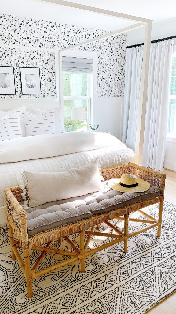 the shore bench from Serena and lily in a bedroom
